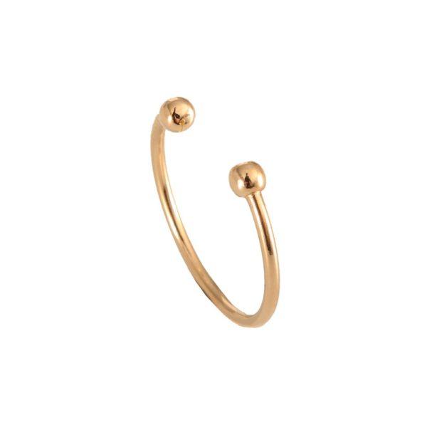 Bague piercing dorée ajustable