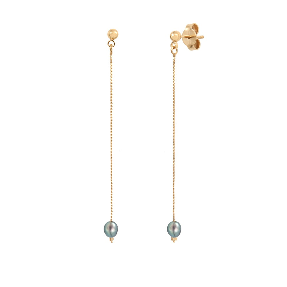 Boucles d'oreilles Queen Sea Perle Grise