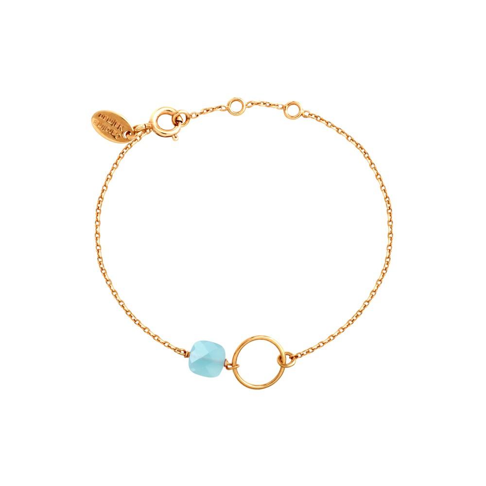 Bracelet doré calcédoine bleue océan Fidji