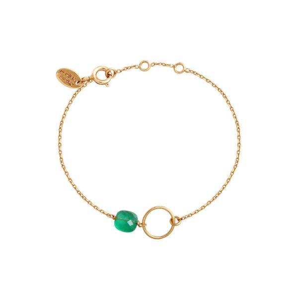 Bracelet doré quartz vert Fidji