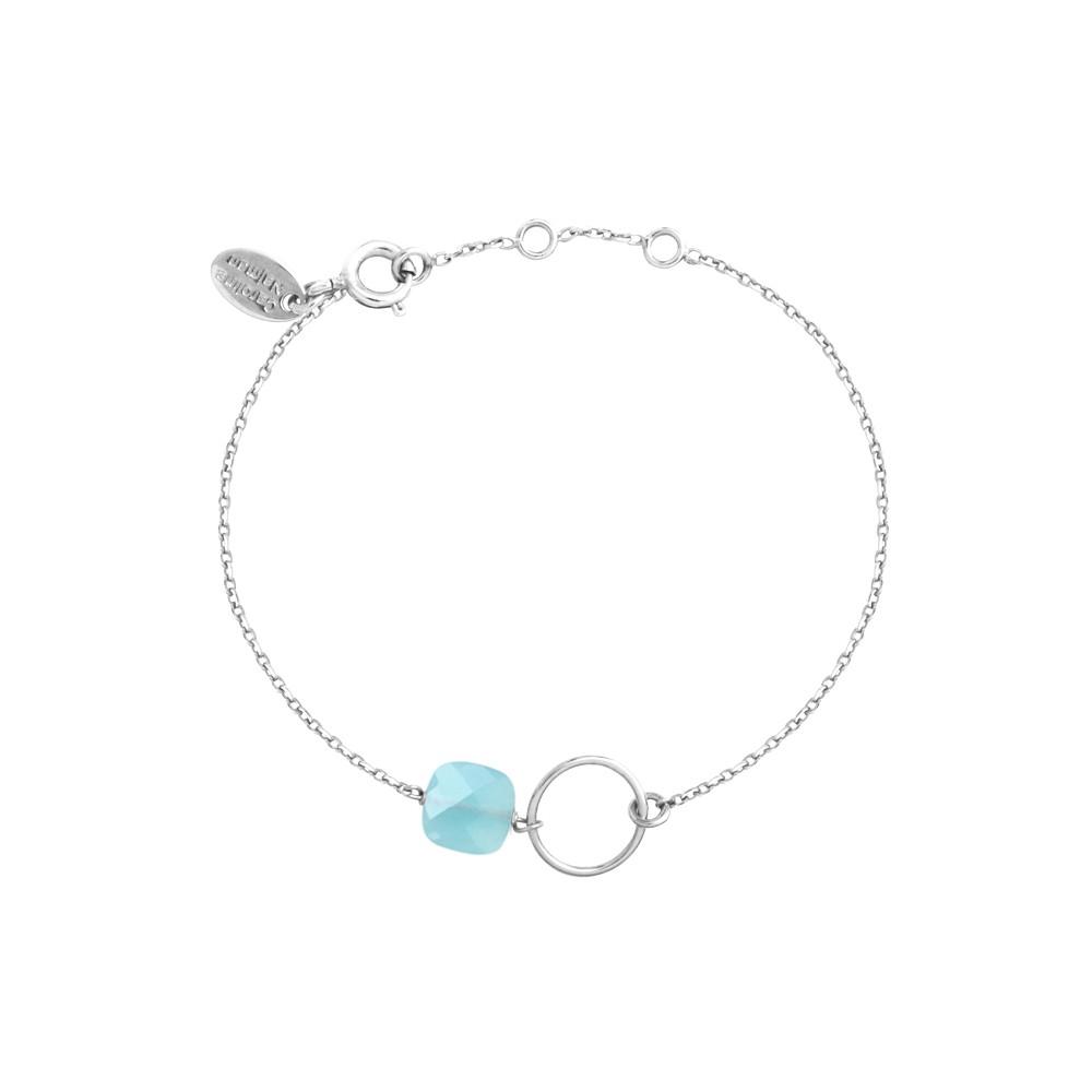 Bracelet plaqué argent calcédoine bleue océan Fidji
