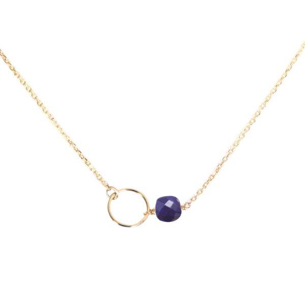 Collier doré lapis lazuli Fidji