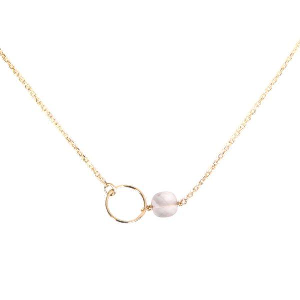 Collier doré quartz rose Fidji