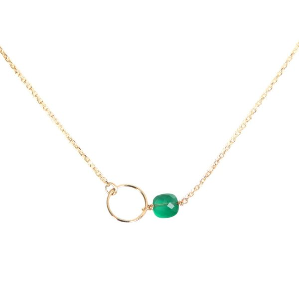 Collier doré quartz vert Fidji