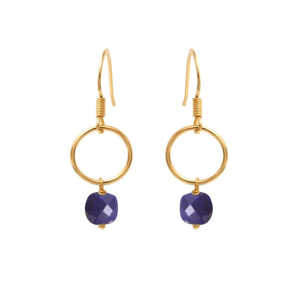 Boucles d'oreilles dorées lapis lazuli Fidji