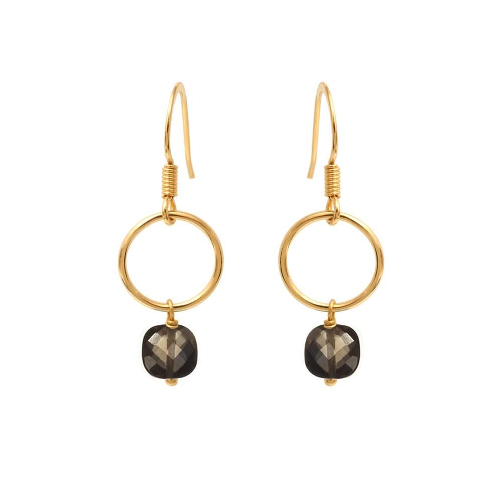 Boucles d'oreilles dorées quartz fumé Fidji