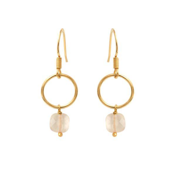 Boucles d'oreilles dorées quartz rose Fidji