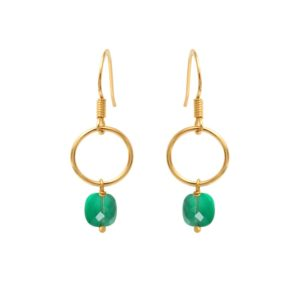 Boucles d'oreilles dorées quartz vert Fidji