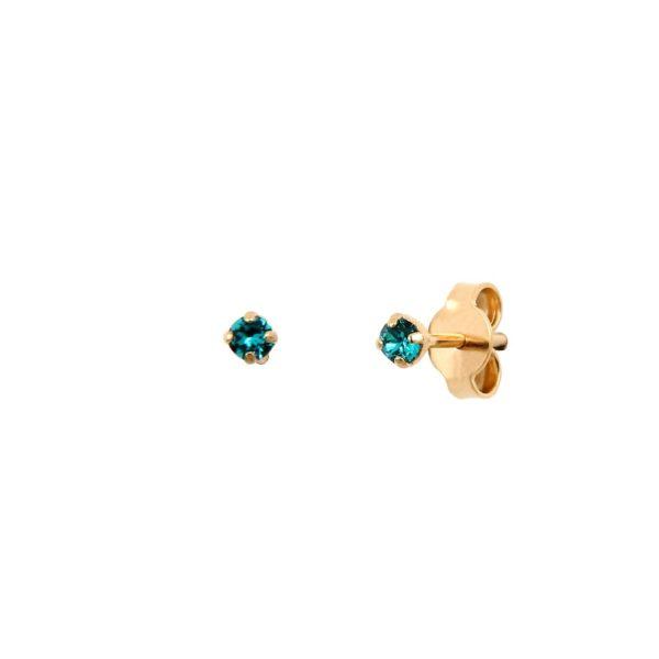 Boucles d'oreilles puces dorées Blue Zircon Paris