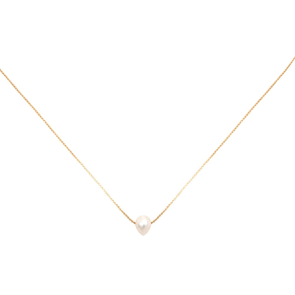 Collier doré perle d'eau douce blanche Queen Sea