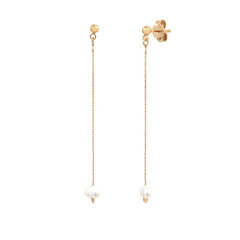 Boucles d'oreilles dorées perle d'eau douce blanche Queen Sea