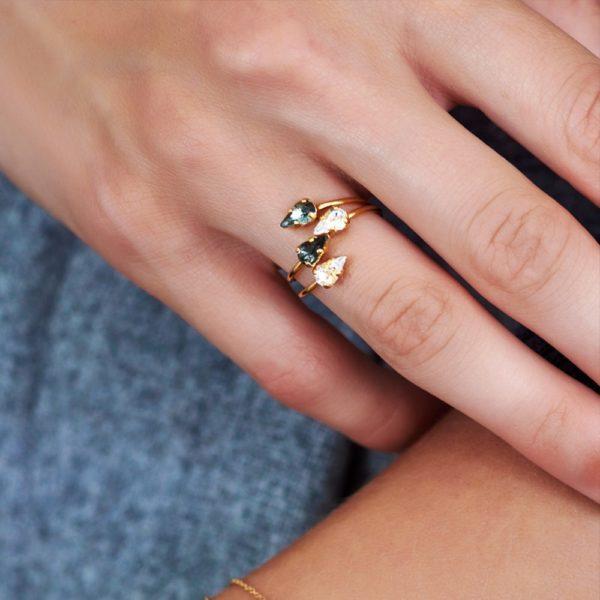 Bague croisée dorée Emerald Vendôme