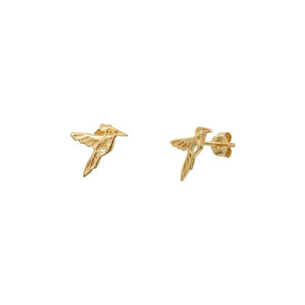 Boucles d'oreilles puces dorées Mini Colibri