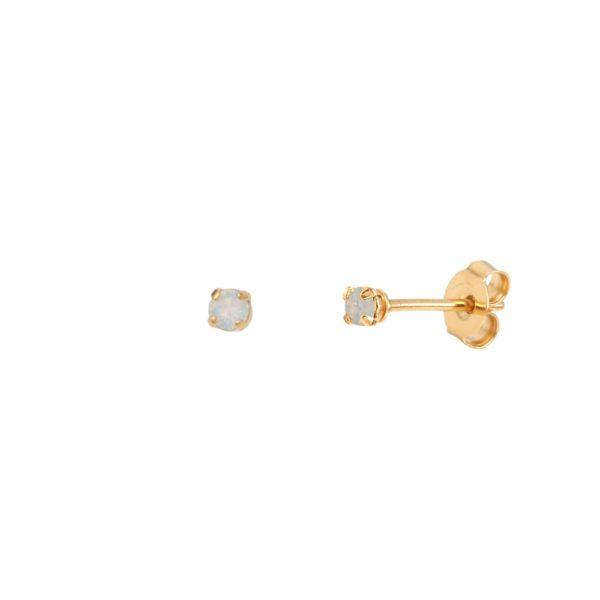 Boucles d'oreilles puces dorées White Opal Paris