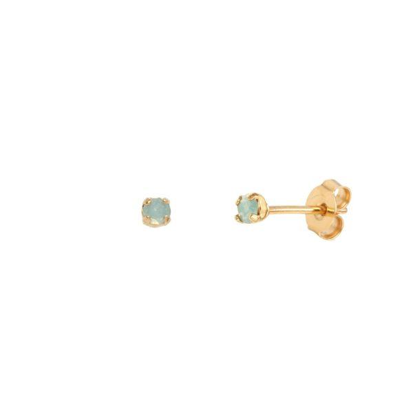 Boucles d'oreilles puces dorées Pacific Opal Paris