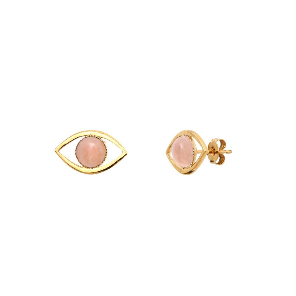 Boucles d'Oreilles puces dorées quartz rose Eros