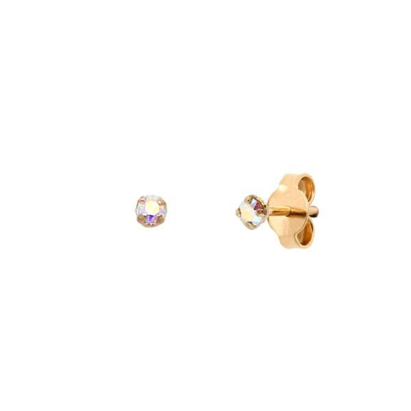 Boucles d'oreilles puces dorées Crystal AB Paris