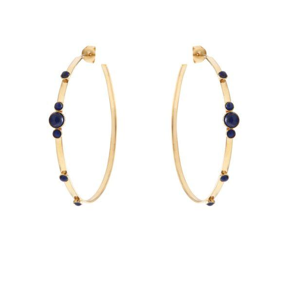 Créoles dorées lapis lazuli Maya PM