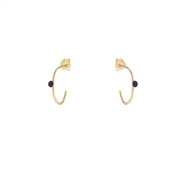 Créoles mini dorées lapis lazuli Cab
