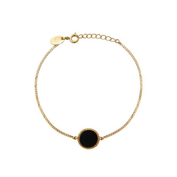 Bracelet doré onyx Lady