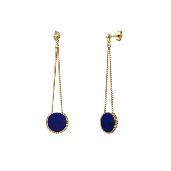 Boucles d'oreilles longues dorées à l'or fin lapis lazuli Lady