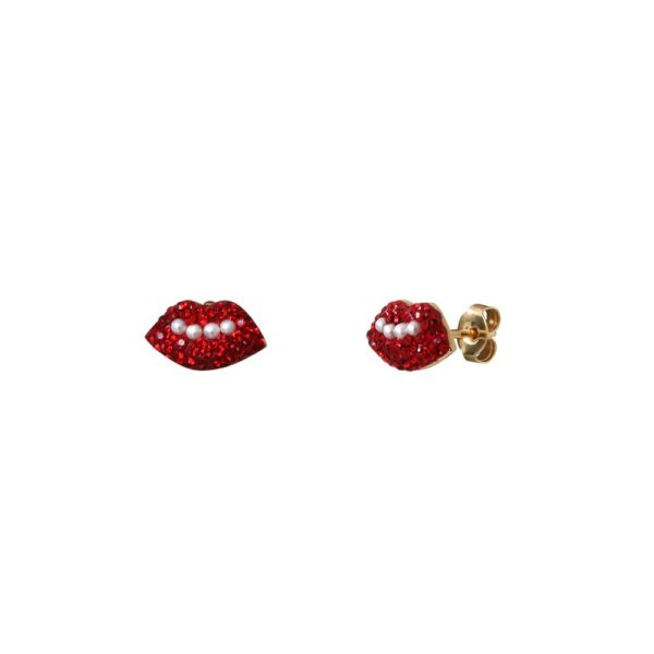 Boucles d'oreilles puces dorées Kuchi Mini Lips