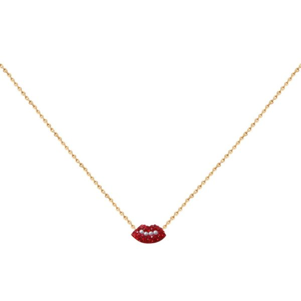 Collier doré Kuchi Mini Lips