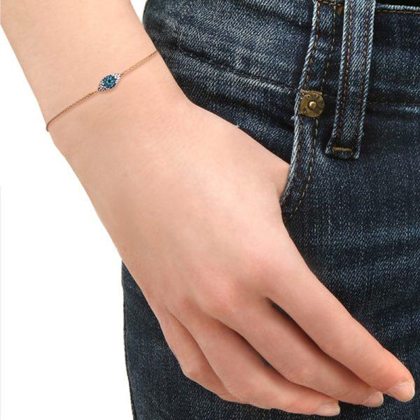 Bracelet doré Kuchi Mini Eyes Bleus
