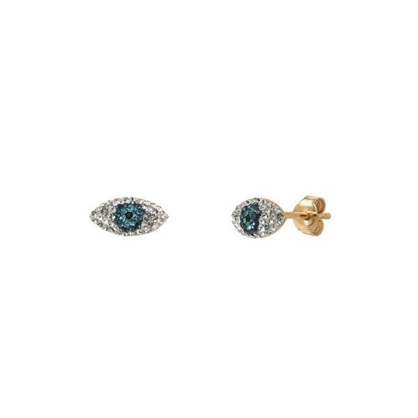 Boucles d'oreilles puces dorées Kuchi Mini Eyes Bleus