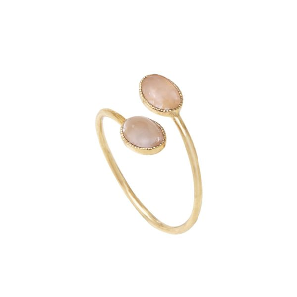 Bague ajustable croisée ovale dorée quartz rose Cab