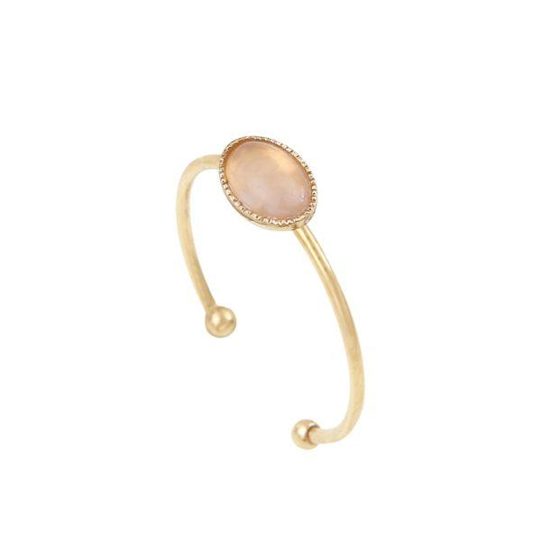 Bague ajustable simple ovale dorée quartz rose Cab
