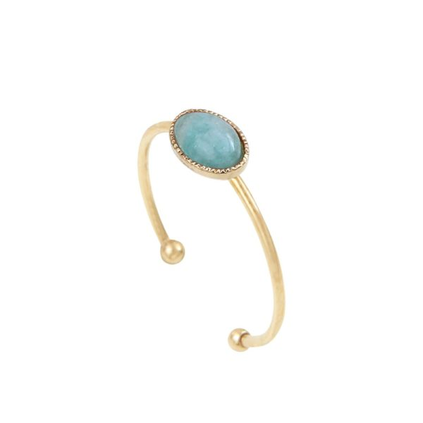 Bague ajustable simple ovale dorée amazonite Cab