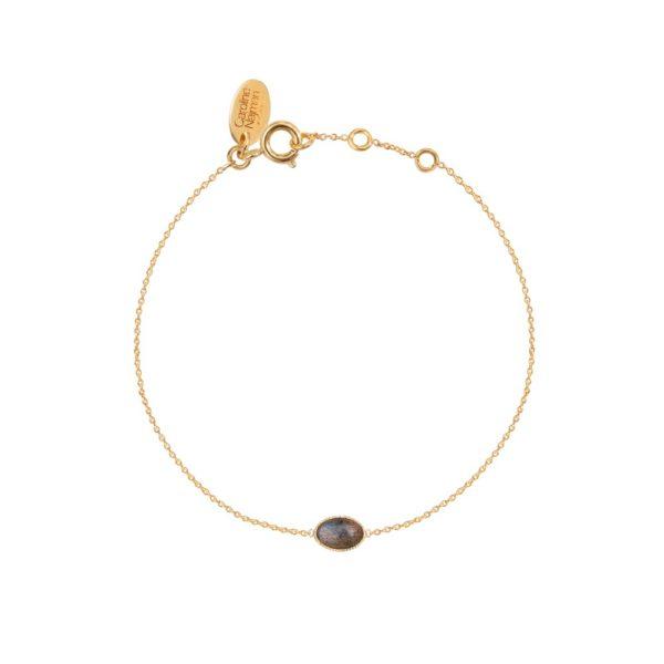 Bracelet doré labradorite Cab Ovale