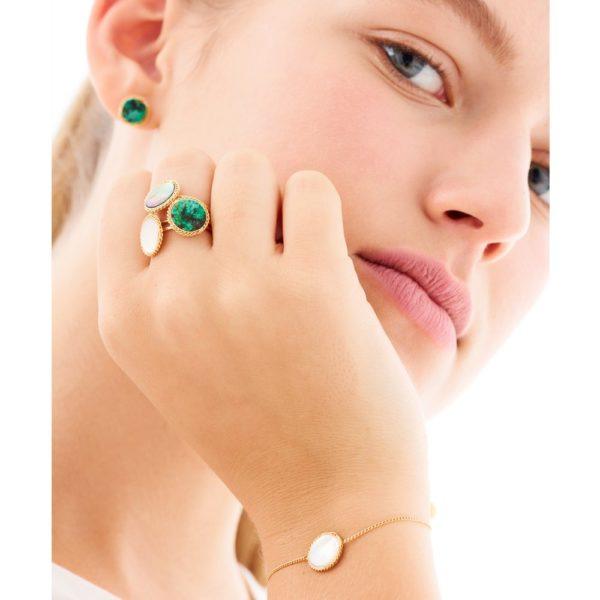Bracelet doré nacre grise Lady