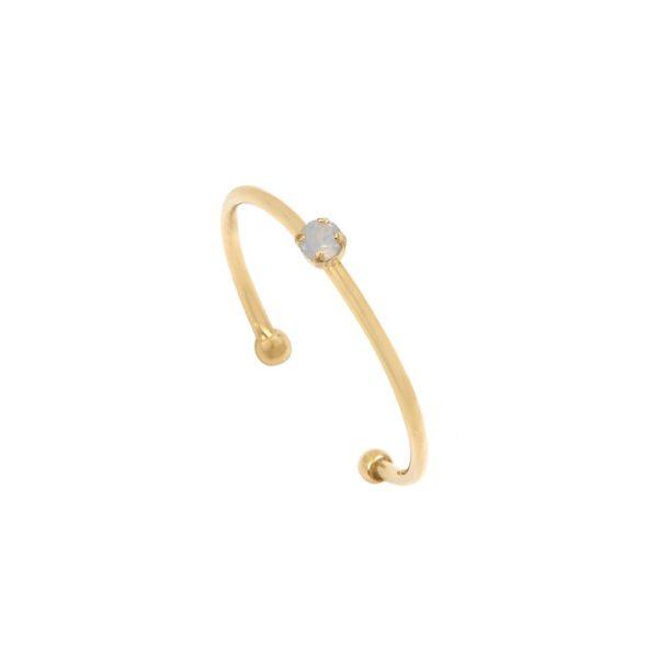 Bague ajustable dorée White Opal Paris