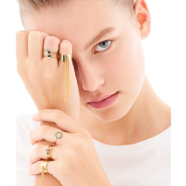 Bague ajustable dorée Emerald Paris