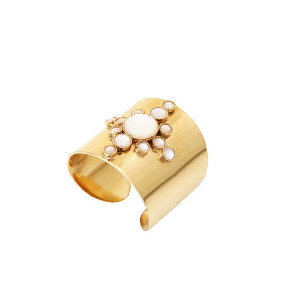 Bague ajustable dorée nacre blanche Maya S