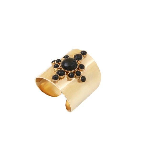 Bague ajustable dorée onyx Maya S
