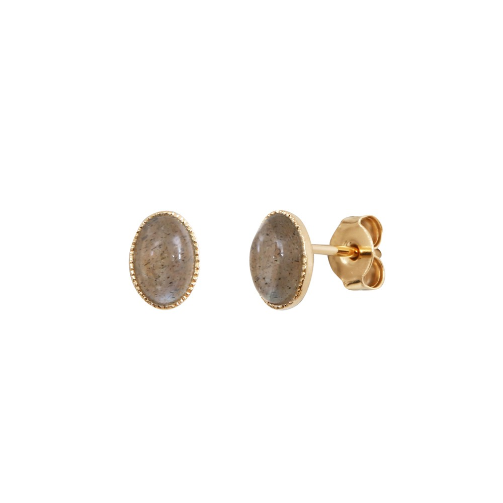 Boucles d'oreilles dorées labradorite Cab Ovale