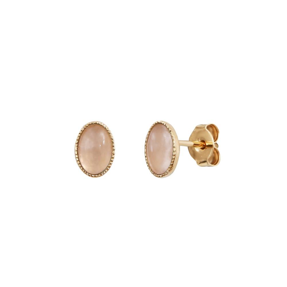 Boucles d'oreilles dorées quartz rose Cab Ovale