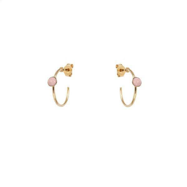 Créoles mini dorées quartz rose Cab