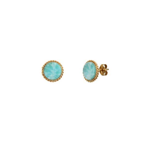 Boucles d'oreilles puces dorées new amazonite Lady