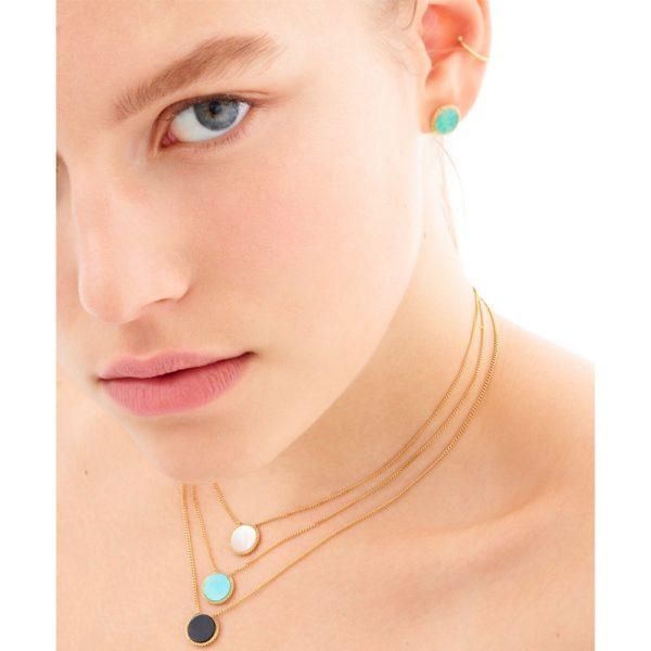 Boucles d'oreilles puces dorées new onyx Lady