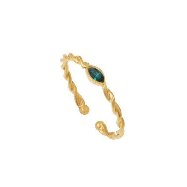 Bague ajustable dorée Emerald Twist Navette