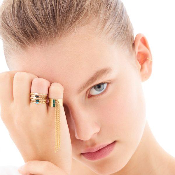 Bague ajustable dorée Emerald Twist Baguette