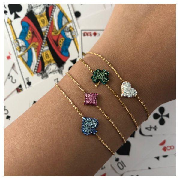 Bracelet doré Poker Clubs