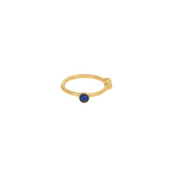 Bague d'Oreille dorée lapis lazuli Cab