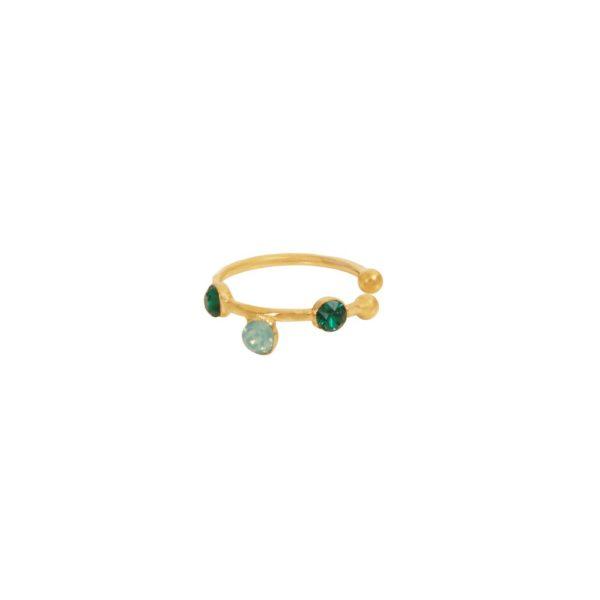 Bague d'Oreille dorée verte Drib