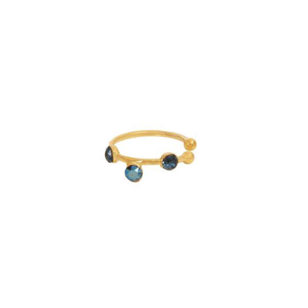 Bague d'Oreille dorée bleue Drib