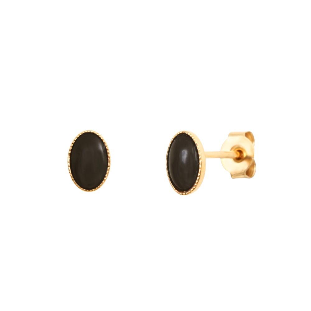 Boucles d'oreilles dorées onyx Cab Ovale